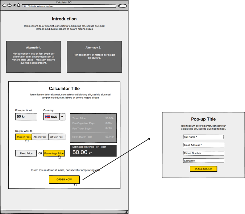 TicketCo Pricing Page New Wireframe