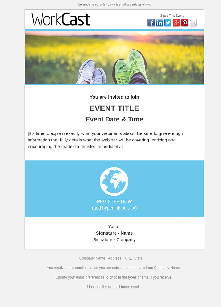 Email Webinar Invite Email Template